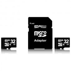 Paměťová karta Silicon Power microSDHC Class 4, 32GB + adaptér SD
